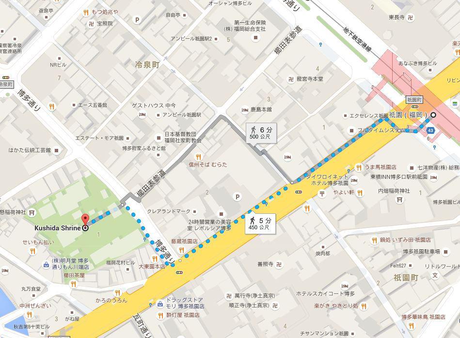 櫛田神社地圖