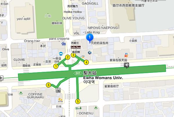 元祖奶奶梨大站地圖