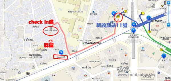 韓屋民宿地圖